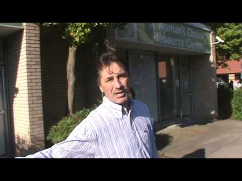 Street preacher at abortion slaughter house.