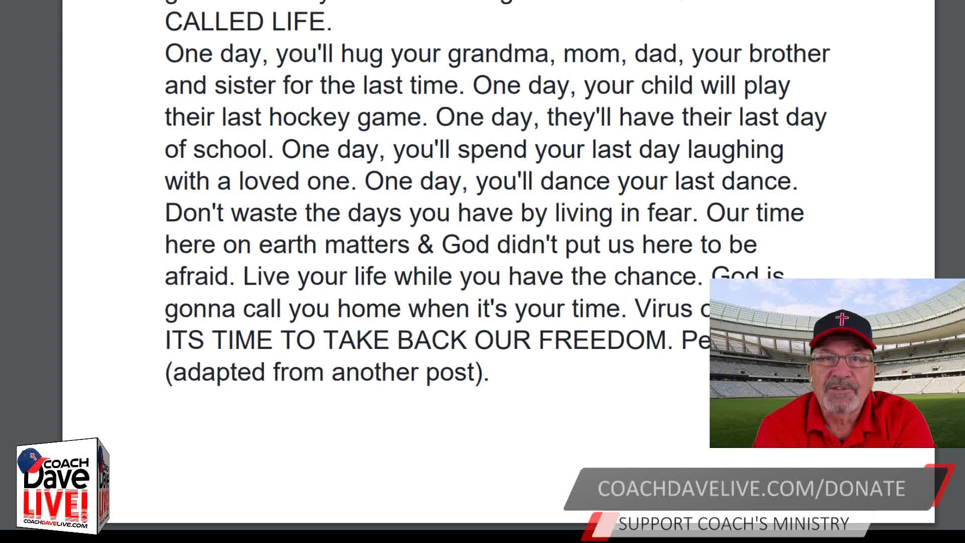 Coach Dave LIVE   12-01-2020   LIVE FREE OR DIE
